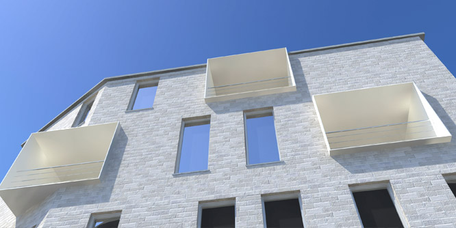 Détail architectural d'une simulation 3D photo-realiste d'un immeuble à appartements