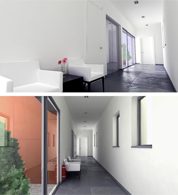 """Illustration d'architecture: Hall d'entrée de la résidence """"La Concorde"""" à Welkenraedt"""